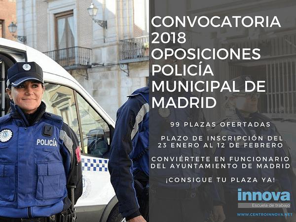 Oposiciones policía ayuntamiento | 99 plazas convocadas para Policía Municipal de Madrid