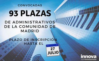 Convocadas las 93 plazas de Administrativos de la Comunidad de Madrid