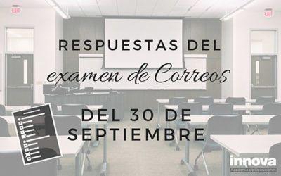 Respuestas del examen de Correos del 30 de septiembre