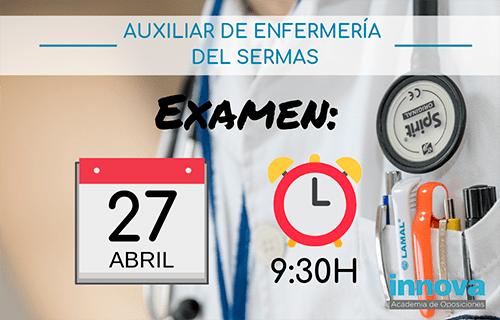 27 de abril: Examen Auxiliar de Enfermería del SERMAS