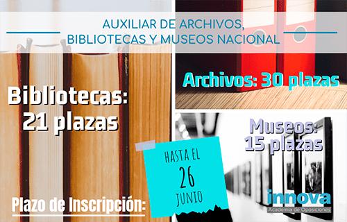 Convocadas 66 plazas para el Cuerpo de Auxiliares de Archivos, Bibliotecas y Museos