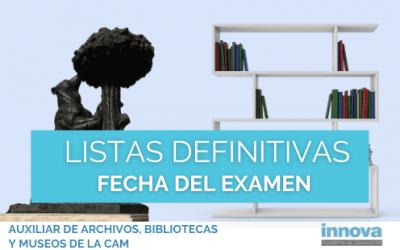 Se anuncia la Fecha de Examen de Auxiliar de Archivos, Bibliotecas y Museos CAM